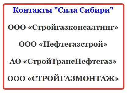 Подрядчики до 2021 Сила Сибири контакты и рабочие должности вахта